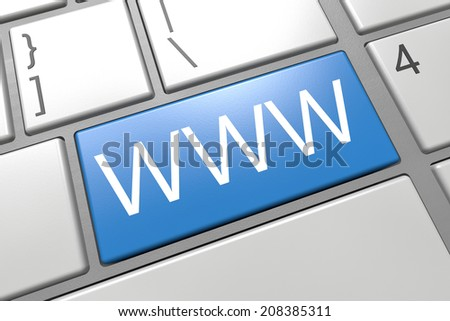WWW - World Wide Web - keyboard 3d render illustration with word on blue key