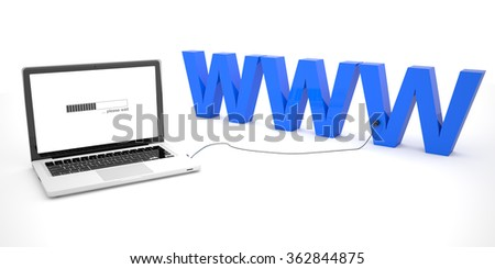WWW - World Wide Web - laptop notebook computer connected to a word on white background. 3d render illustration. - stock photo