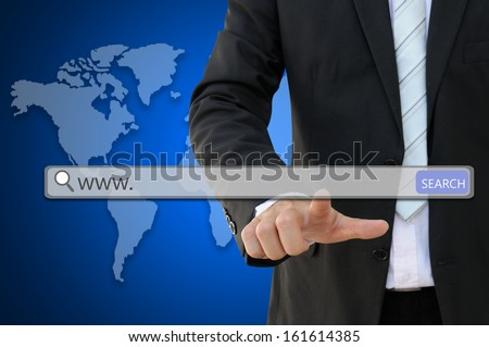 www. written in search bar presented by business woman - stock photo