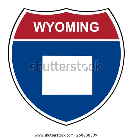 Wyoming American interstate highway road shield isolated on a white background. - stock photo