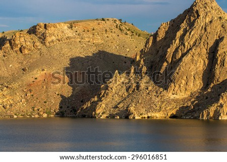Wyoming's Wind River and its canyon at dawn - stock photo