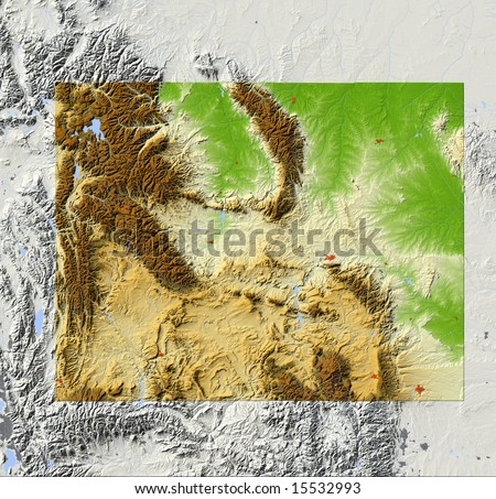 Wyoming. Shaded relief map, with major urban areas and rivers, surrounding territory greyed out. Colored according to elevation. Clipping path for the state area included. Data source: NASA - stock photo