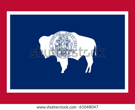 Wyoming state flag of America, isolated on white background. - stock photo