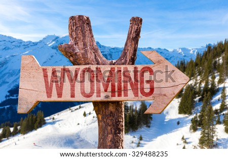 Wyoming wooden sign with winter background - stock photo