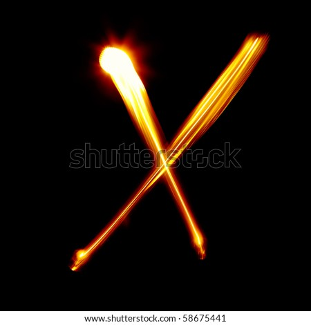 X - Created by light alphabet - lower case character - stock photo