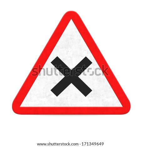 x  danger road sign - stock photo