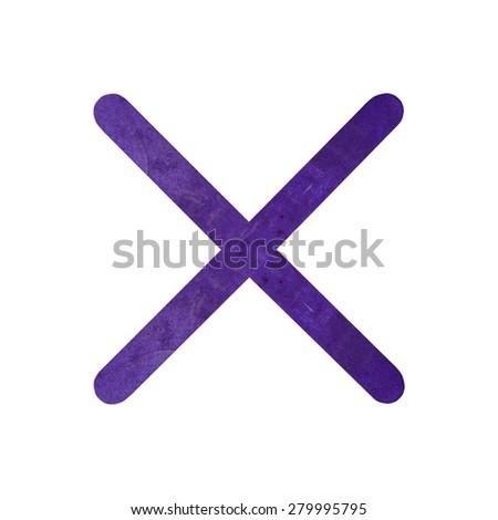 X English alphabet by violet wood on isolated white background - stock photo