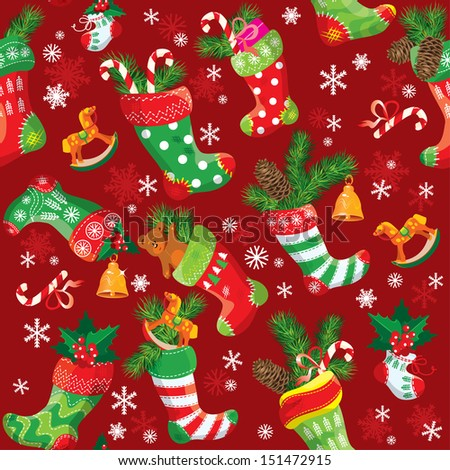 X-mas and New Year background with Christmas stockings. Seamless pattern for holiday design. Raster version
