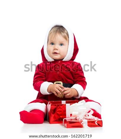 x-mas baby girl opening gift box isolated on white background - stock photo