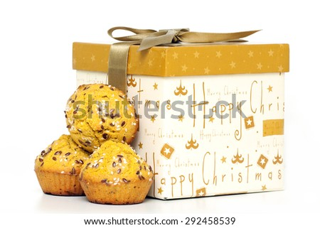 X-Mas Muffins with sesame isolated on a white background