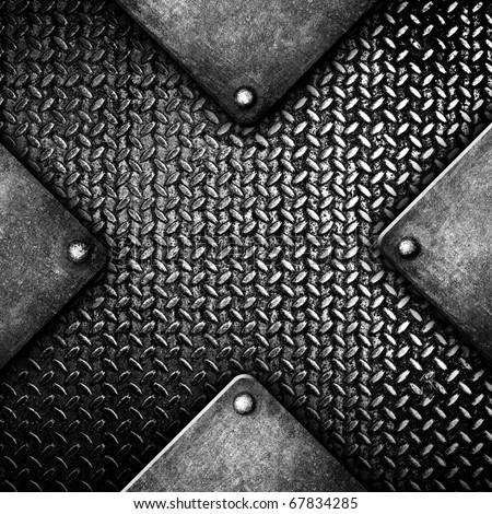 X pattern metal plate - stock photo
