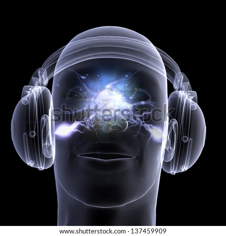 X-ray DJ Headphones: An x-ray of a male DJ wearing headphones with electric activity in his head. Isolated on a black background - stock photo