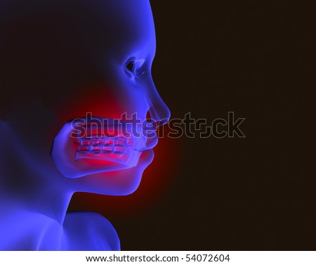 x-ray image of a head with mouth pain