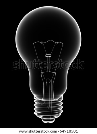 X-Ray lightbulb isolated on black background. High resolution 3D image - stock photo
