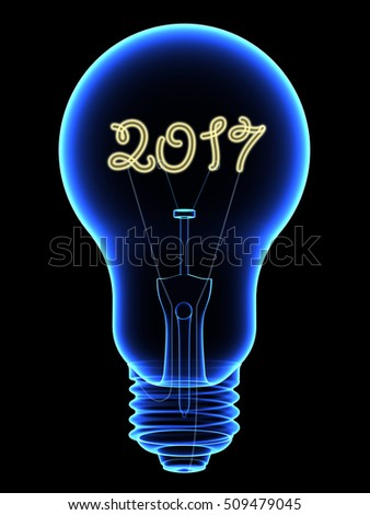 X-Ray lightbulb with sparkling 2017 digits inside isolated on black. High resolution 3D image