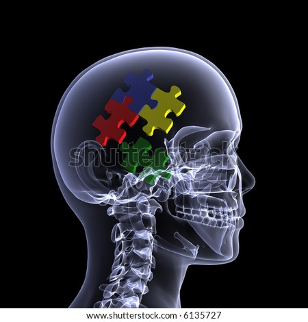 X-Ray of a female skeleton with colored puzzle pieces in her head for the concept of reasoning. Isolated on a black background - stock photo