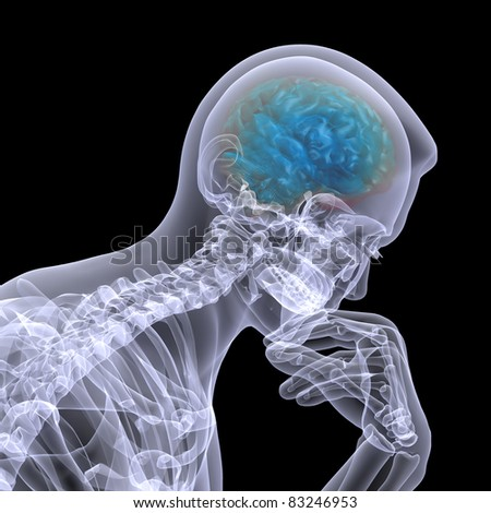X-Ray of a male skeleton in a thinker pose with his brain displayed. Isolated on a black background - stock photo