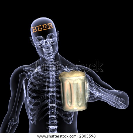 X-Ray of a male skeleton thinking about beer. Holding a mug of beer. Isolated on a black background
