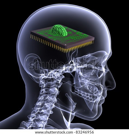 X-Ray of a male skeleton with a CPU brain embedded in his head. Isolated on a black background - stock photo