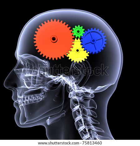X-Ray of a male skeleton with a series of colored gears in his head for the concept of thought. Isolated on a black background - stock photo