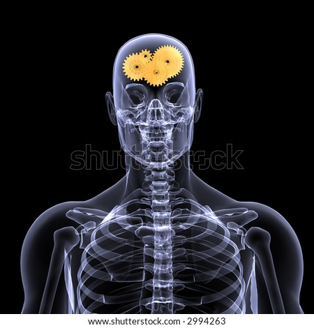 X-Ray of a male skeleton with a series of gears in his head for the concept of thought. Isolated on a black background - stock photo