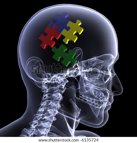 X-Ray of a male skeleton with colored puzzle pieces in his head for the concept of reasoning. Isolated on a black background