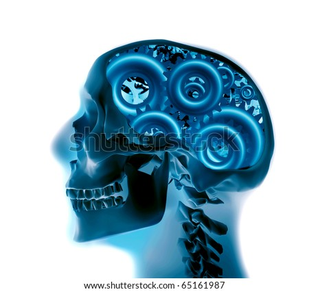 x-ray of a skull with gears - stock photo