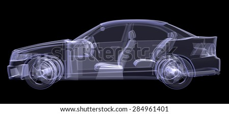 X-ray of car on isolated black background, side view - stock photo