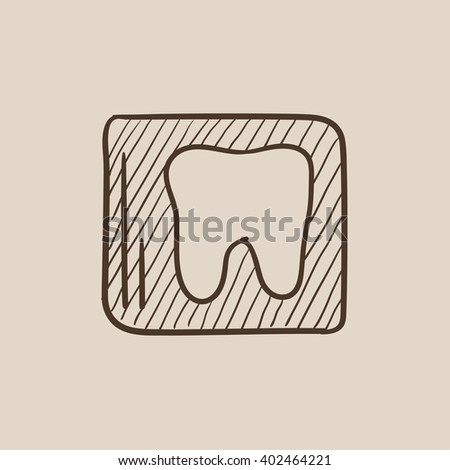 X-ray of tooth sketch icon. - stock photo