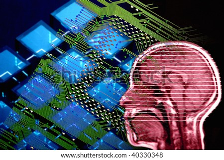X-ray picture of person's head and healthcare image. - stock photo
