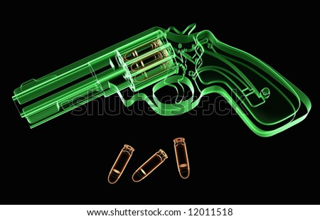 X-ray revolver and ammunition on black background