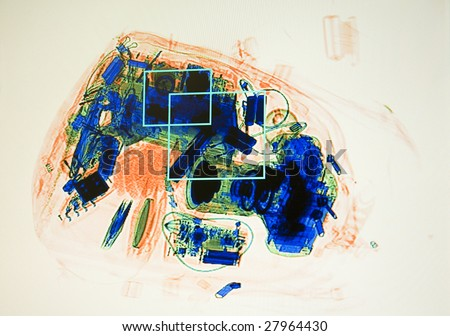 x-ray screenshot in the airport on the safety control - stock photo