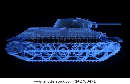 X-ray version of soviet t34 tank isolated on black - stock photo