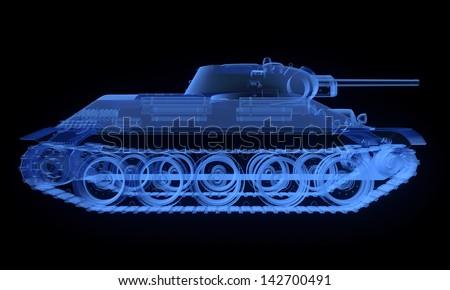 X-ray version of soviet t34 tank isolated on black - stock photo