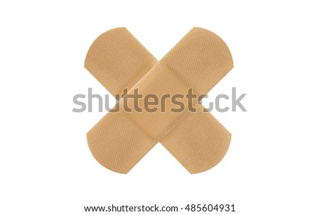 X sign adhesive plaster isolated on white background
