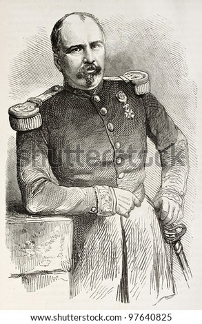Xavier Jeanne Marie Clement Vernhet de Laumiere old engraved portrait, General of French army dead in Mexico. Created by Janet-Lange after photo of Ramade, published on L'Illustration, Paris, 1863 - stock photo