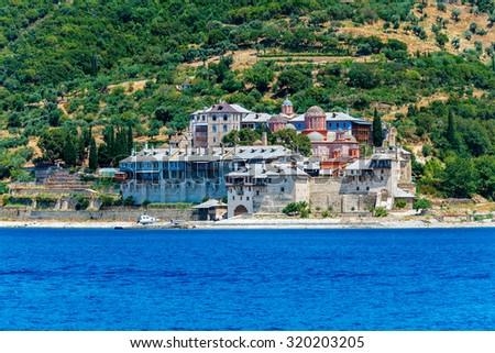 Xenofontos Monastery, Athos Peninsula, Mount Athos, Chalkidiki, Greece - stock photo