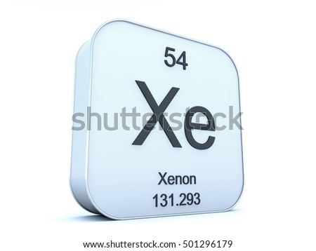 Xenon element on white square icon 3D render