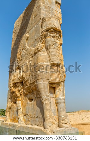 Xerxes Gate of nations with Lamassu statues at the entrance of the old city Persepolis. - stock photo