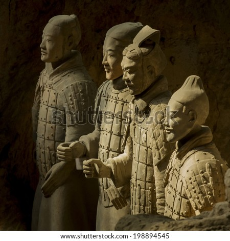 Xi'an, China : 24 Mar 2014 Terracotta Army is a collection of terracotta sculptures depicting the armies of Qin Shi Huang, the first Emperor of China. 210-209 BC
