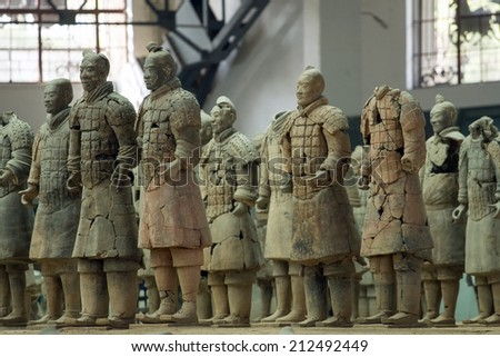 Xi'an, China:24 Mar 2014 Terracotta Army is a collection of terracotta sculptures depicting the armies of Qin Shi Huang, the first Emperor of China. 210-209 BC Taken 24 Mar 2014  - stock photo