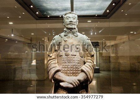Xi 'an, China - on September 26, 2015:the world's most famous statue of the Terra Cotta Warriors?The eighth wonder of the world?qin shihuang terracotta army is one of the world cultural heritage. - stock photo