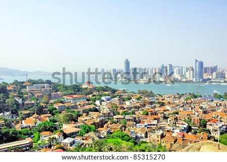 Xiamen aerial view from Gulang-yu island - stock photo