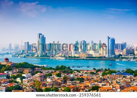 Xiamen, China city skyline from Gulangyu Island. - stock photo