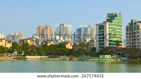 XIAMEN, CHINA, DECEMBER 5, 2013: view of the skyline of xiamen city next to the marco polo area next to the central lake.