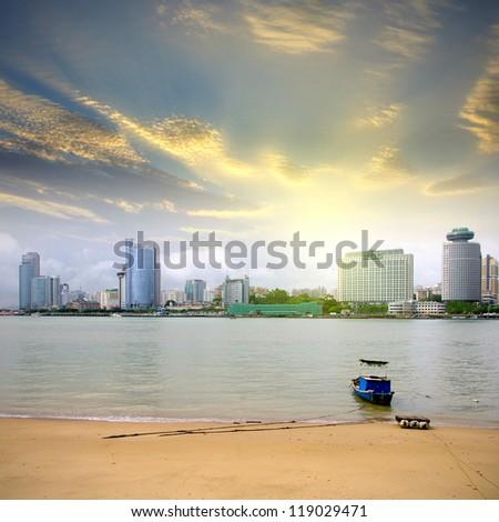 Xiamen sunset skyline - stock photo