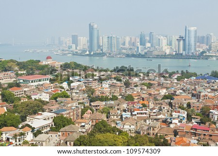 Xiamen view from Gulangyu Island, China. - stock photo