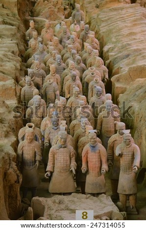 XIAN, CHINA, AUGUST 25, 2013: Detailed view of the famous terracotta army near china in china. - stock photo