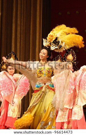 XIAN, CHINA - FEBRUARY 21: Chinese female dancer performs traditional Tang dynasty dance onstage at Xian Theater on February 21, 2006 in Xian, China