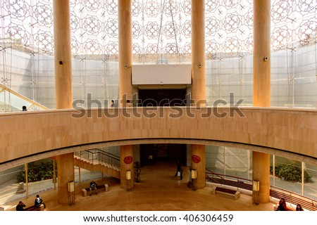 XIAN, CHINA - MAR 30, 2016: Interior of the Xian Museum. Xian Museum was opened to the public on the World Museum's Day, May 18th, 2007